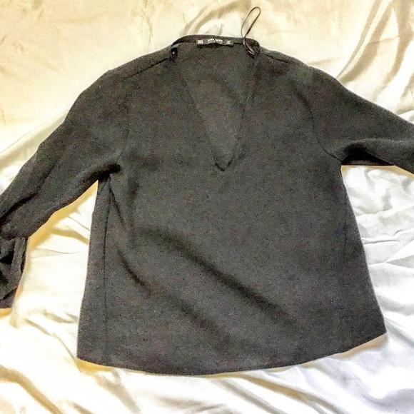 Zara Tops - Zara   Black Bow Long Sleeve Top